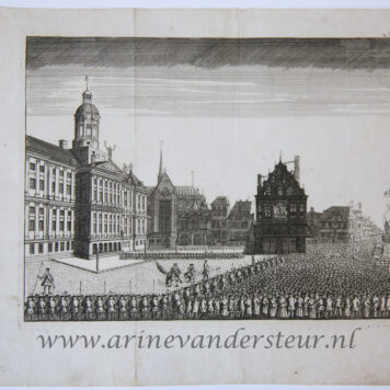 [Antique print, etching] Executions and riots on Dam Square in 1748 (executie op de dam Amsterdam), published 1749.