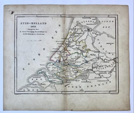 [Lithography, Lithografie, Kaart Zuid-Holland 1852] Kaartje van Zuid-Holland in 1852, Map of South-Holland in 1852. With coloured edges of the municipalities, 1 p.