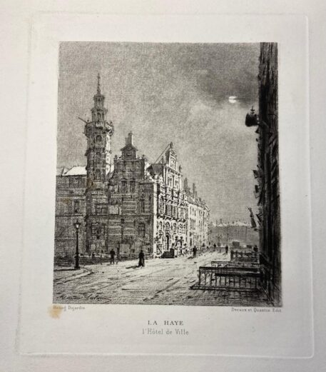 [Lithography, Lithografie, The Hague] La Haye, Het Stadhuis, L'Hôtel de Ville (Old City Hall Den Haag), 1 p, published 19th century.