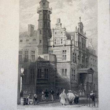 [Lithography, Lithografie, The Hague] The Town Hall at The Hague, Hôtel de Ville à La Haye, Stadhuis in 's Gravenhage (Old City Hall Den Haag), 1 p, published 19th century.