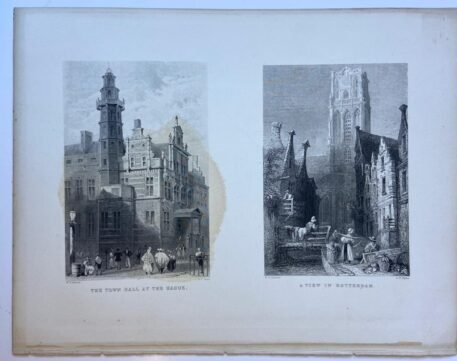 [Lithography, Lithografie, The Hague] The Town Hall at The Hague and A View in Rotterdam (two litho's on one page, Het stadhuis in Den Haag en een blik op Rotterdam), 1 p, published 19th century.