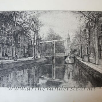 [Modern print, etching] View on the Groenburgwal in Amsterdam, published ca. 1940.