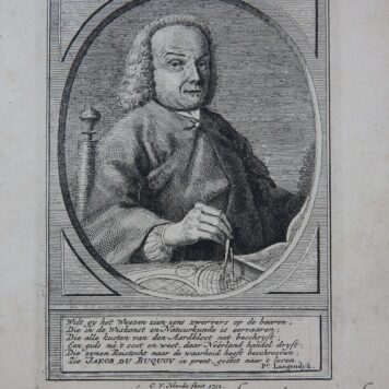 [Antique print, etching and engraving] Portrait of chartographer (chartograaf) Jacob de Bucquoy, published 1752.