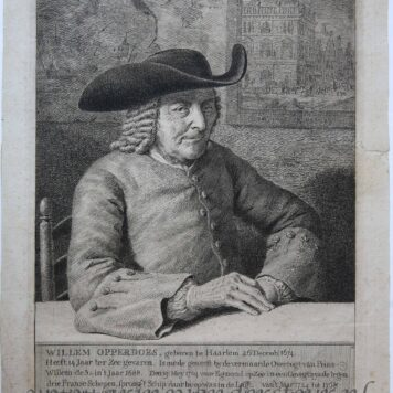 [Antique print, etching and engraving] Portrait of Willem Opperdoe (100-year old), published 1774.