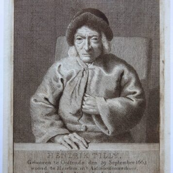 [Antique print, etching and engraving] Portrait of Hendrik Tilly (102-year old), published 1764.