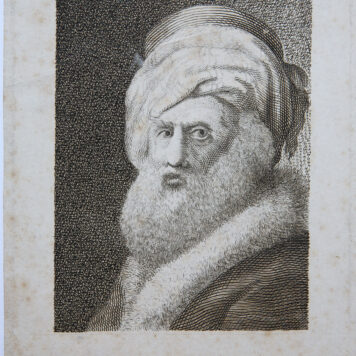 [Antique portrait print, engraving] Portrait of a bearded man with turban (bebaarde man met tulband), published ca. 1750.