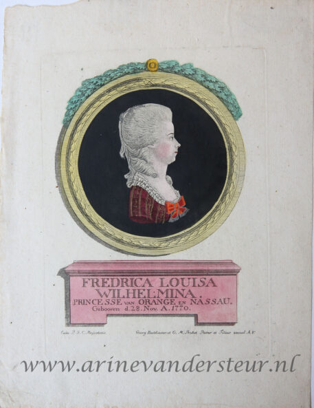 [Antique print, handcolored etching and engraving] Portrait of Louise, princess of Oranje-Nassau, published ca. 1780-1788.