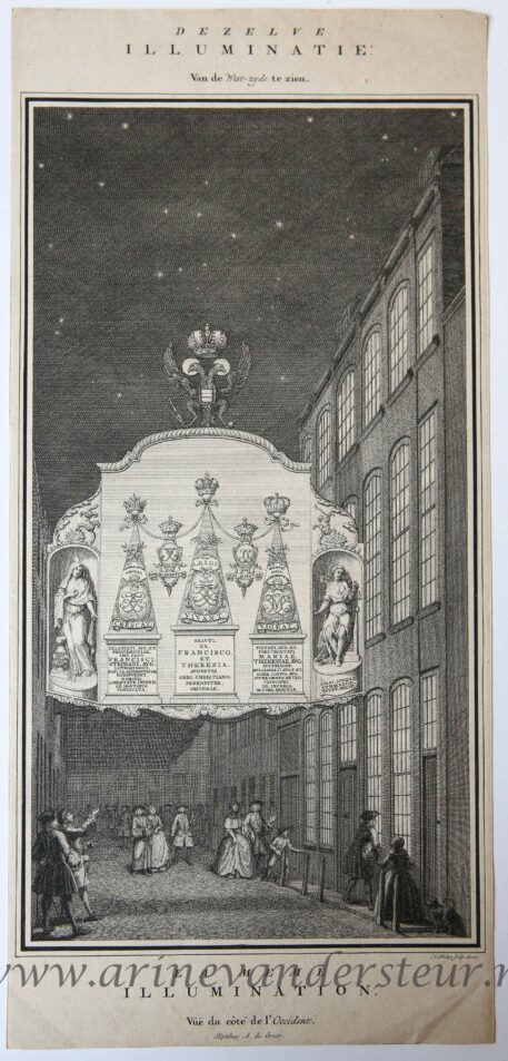 [Antique print, etching and engraving, The Hague, Hofvijver] Fireworks for the victory against France and Spain, published 1702.