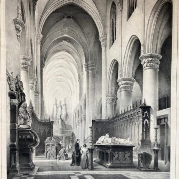 [Lithography, Lithografie, The Hague] Kerk te Hoogstraeten, Tentoonstelling 's Gravenhage 1843, 1 p, published around 1843.