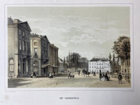 [Lithography, Lithografie, The Hague] Het Tournooiveld, 1 p, published around 1860.