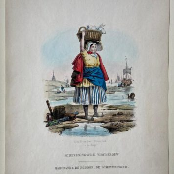 [Coloured lithography, Lithografie, The Hague] Scheveningsche Vischvrouw / Marchande de poisson, de Scheveningue (Scheveningse visvrouw), 1 p, published around 1850.
