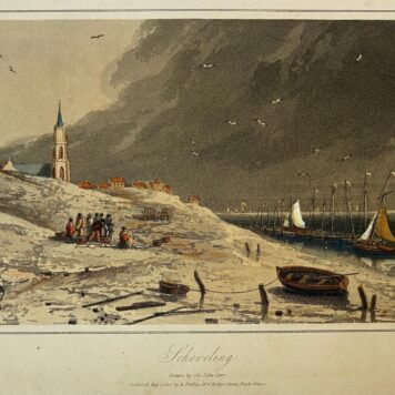 [Antique print, handcolored aquatint, The Hague] Scheveling (Scheveningen), drawn by Sir John Carr, published ca. 1840.