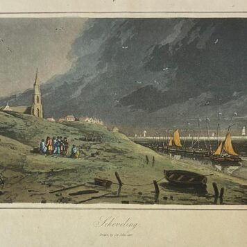 [Antique print, colored aquatint, The Hague] Scheveling (Scheveningen), drawn by Sir John Carr, published ca. 1840.