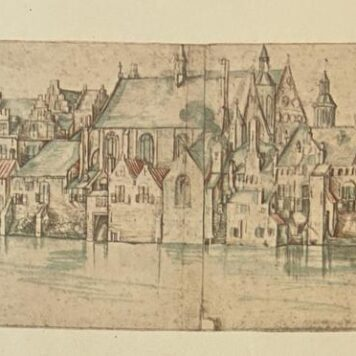[Modern print, reproduction, The Hague] Het Binnenhof in 1598. Teekening van C.J. Visscher, 1 p. published 20 th century.