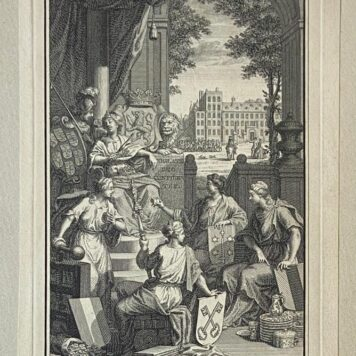[Antique print, frontispiece] Holland met de Fraaflijke troon op den schoot en een scepter in de hand (...), [frontispiece, 1 p. 1742].
