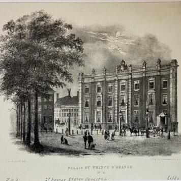[Lithography, Lithografie, The Hague] Plein 23, in de 19e eeuw bewoond door Wilhelmina van Pruissen, later door kinderen van Koning Willem I. Palais du Prince D'Orange no 15, 1 p, published around 1848.