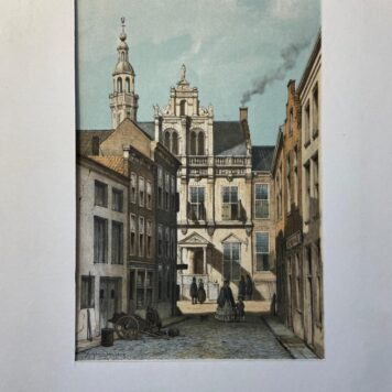 [Coloured lithography, gekleurde lithografie, The Hague] Stadhuis Den Haag naar Weissenbruch / View of City Hall The Hague after Weissenbruch, 1 p, published 19th century.