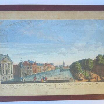 [Framed antique optical print, handcolored etching and engraving, optica prent in lijst] View of the Hofvijver in The Hague , published 1794.