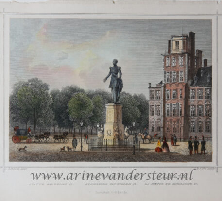 [Antique print, colored lithograph, The Hague] The statue of King William II / Standbeeld van Koning Willem II, published ca. 1854.