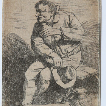 [Antique print, etching] Sitting man with his hat in his right hand (zittende man met mok in de hand), published ca. 1650.