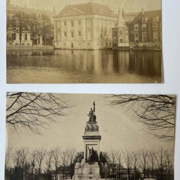 [Photo, The Hague] Two old photo's of The Hague:L Mauritshuis aan de hofvijver and Plein 1813 monument.