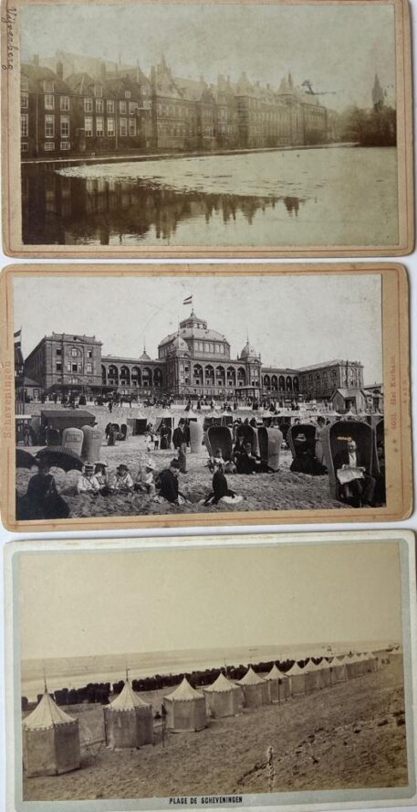 [Photography, Scheveningen] Three old souvenir photo's of Scheveningen, The Hague: Beach with beach tents and black beach chairs, Kurhaus and people on the beach in full clothes, Hofvijver and buildings of government, each 11 x 16,5 cm, date: 1890.