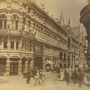 [Photography, Shopping Mall] Old photo of Shopping Mall in Neogothic style (neogotiek), maybe Magna Plaza Amsterdam?, 22 x 27,8 cm, published around 1890. .