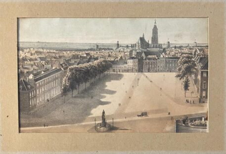 [Handcolored lithography, The Hague] Bird's eye view of the Court in THe Hague, The Buitenhof, published around 1900.
