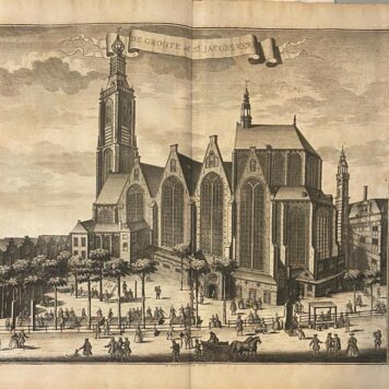 [Antique print, etching, The Hague] DE GROOTE of St JACOBS KERK in Den Haag, published ca. 1735.