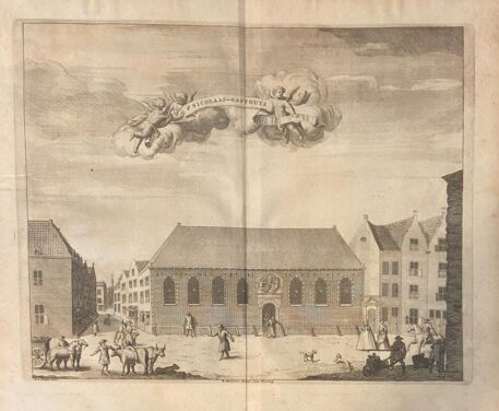 [Antique print, etching, The Hague] St Nicolaas-Gasthuys, published ca. 1735.