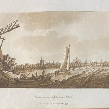 [Lithography, lithografie, The Hague] Entrance to the Hague from Delft (Gezicht op Den Haag vanaf Delft), 1p.