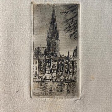 [Modern prints; etchings] Views of canal in The Hague with in the back the tower of the Grote Kerk (also St. Jacobskerk), published before 1950.