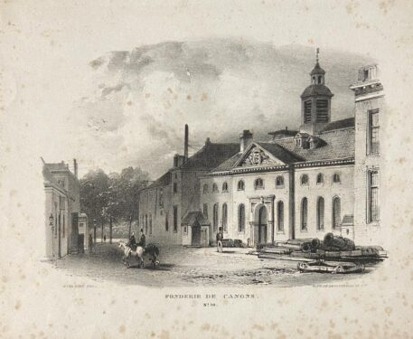 [Lithograph, lithografie, The Hague] Fonderie de Canons (Near Smidswater and Nieuwe Uitleg in Den Haag), 1 p., published 19th century.