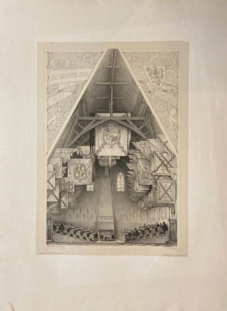 [Large Lithograph, lithografie, The Hague] De Groote Zaal 1651 (Ridderzaal), 1 p., published 19th century.