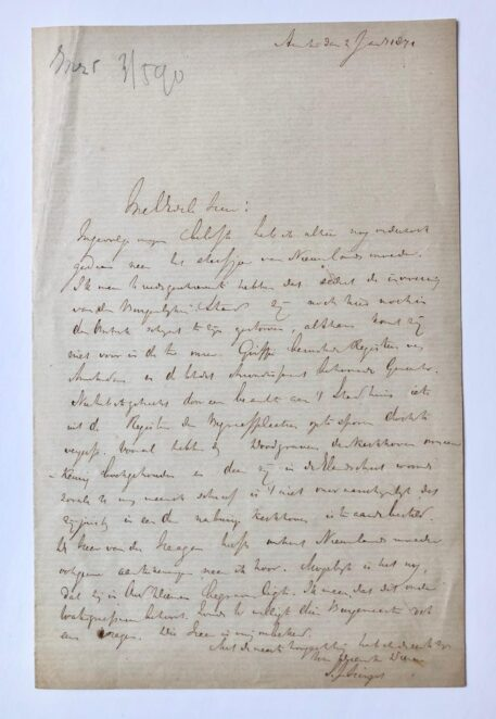 [Manuscript, letter] Letter by S.J. Hingst, Amsterdam 1871, regarding the year of death of the mother of Nieuwland, 1 p.